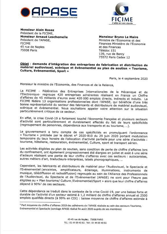 Les Présidents de l'APASE et de la FICIME écrivent au ministre de l'Economie